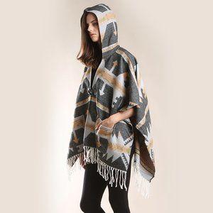 LOF Warm Aztec Hoodie Poncho Ruana with Tassels